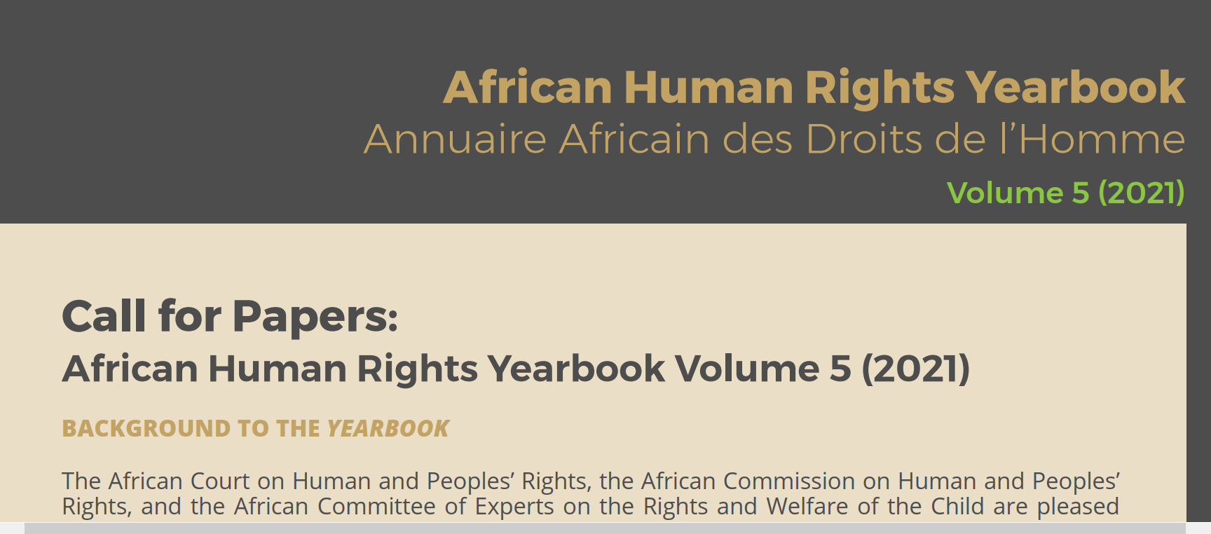 CALL FOR PAPERS: AFRICAN HUMAN RIGHTS YEARBOOK VOLUME 5 (2021)